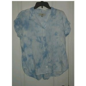M Thread & Supply Tie Dye Boxy Button Front Top